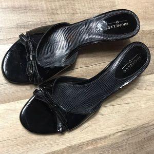 Black crocodile heels